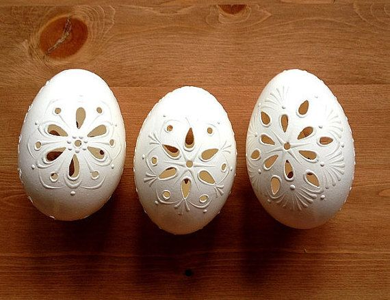 3 Goose White Egg Madeira Hand Decorated Painted Easter Egg with Wax Decor