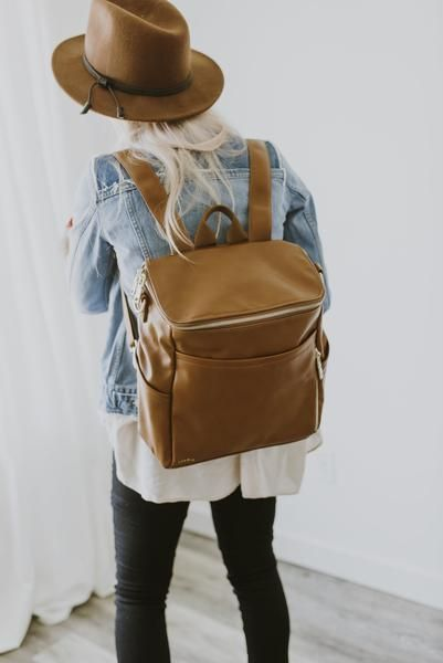azaria faux leather designer diaper bag backpack - camel light brown - back