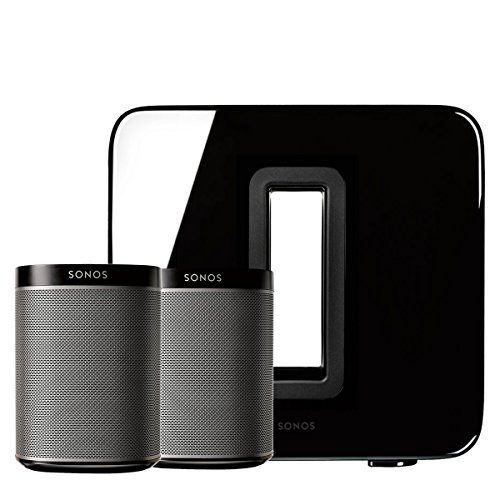Sonos PLAY:1 (Black, Pair) Multi-Room Digital Music System Bundle & Sonos Wireless SUB (Black)  This Bundle Includes: (2) Sonos Play 1 Speakers & (1) Sonos Wireless Sub  Mini but Mighty. The Play 1 fits in any space, fills any room with surprisingly rich and powerful sound.  Stream all the music from your favorite music services, and control it all wirelessly from the Sonos Controller App on your smartphone, tablet, or desktop computer.  The Sub adds dramatically deeper base to any Son...