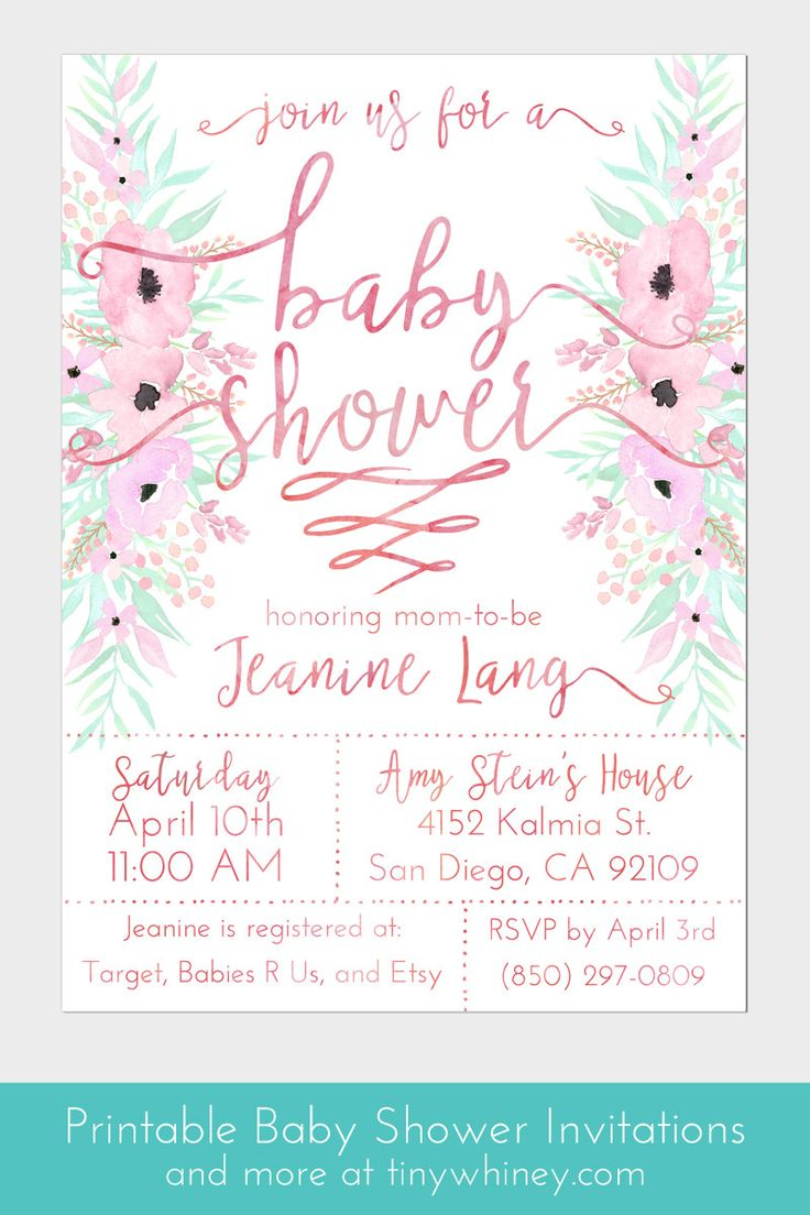 Pale pink baby shower invitations   baby shower printables   custom baby shower invitations