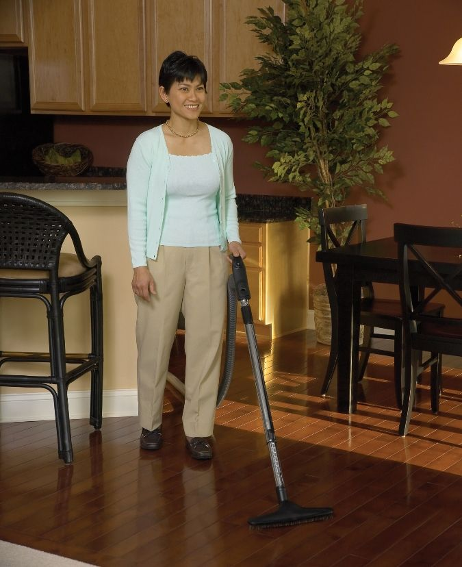 Cleaning hardwood floors is easy with Vacuflo Built in Central Vacuum system