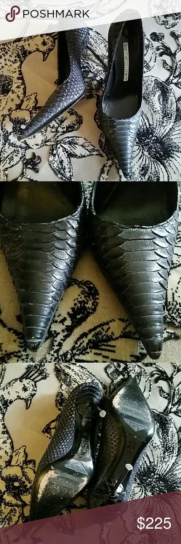 Gianmarco Lorenzi Python Leather Stilettos Size 37 Color varies through out. But brown purple, somewhat eggplant. Very good condition, but not excellent. Some wear on sole, and natural variance of snake skin shows some uneven color/texture as I tried to depict in photos. Gianmarco Lorenzi  Shoes Heels
