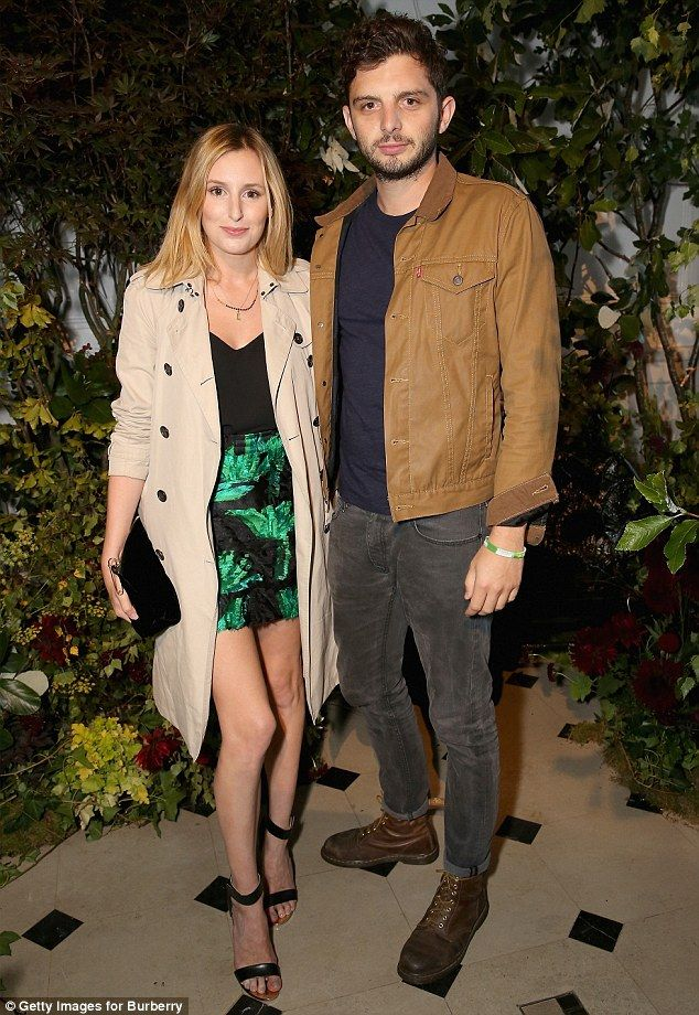 Making it official: Laura Carmichael and Michael Fox attend their former Downton co-star Lily James's party to mark the launch ofMy Burberry Black in London on Monday