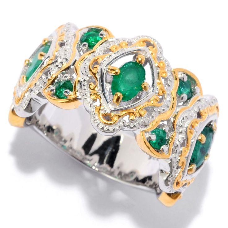 Michael Valitutti Palladium Silver Oval & Round Zambian Emerald Scrollwork Halo Band Ring