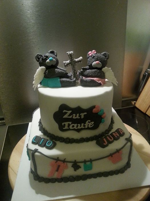 christening cake twins