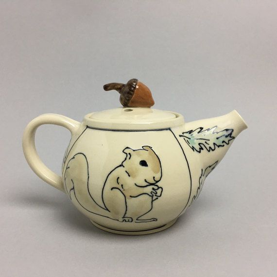 Squirrel with Acorn Teapot by APrydePottery on Etsy