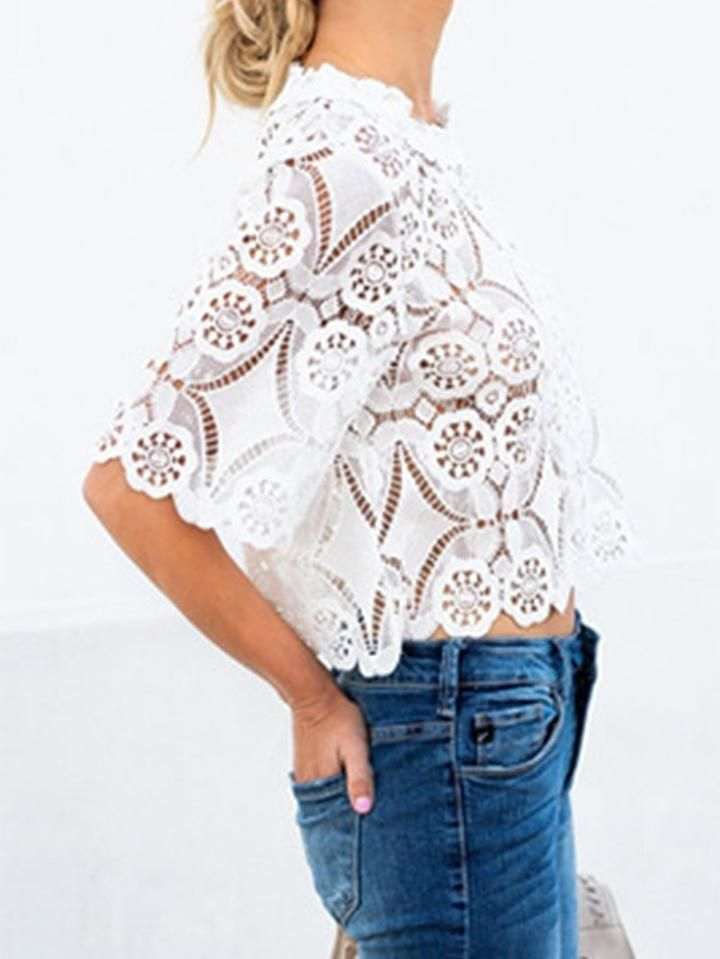 707ebcb0c5a2bd Fashion Lace Hollow Out Round Neck Half Sleeve Loose Blouse White xl #hollow -out