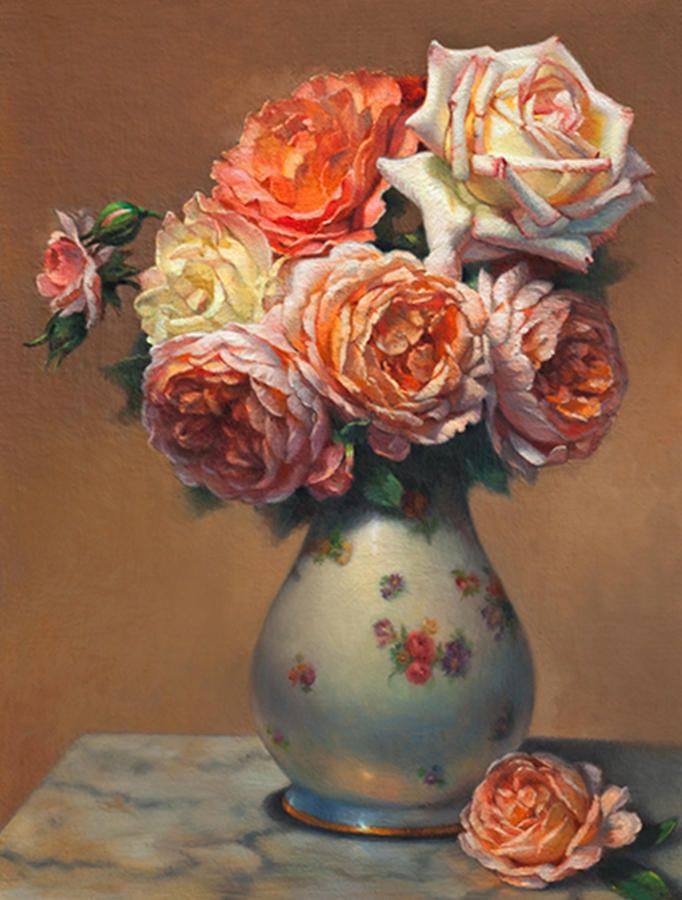 Peach Roses In Porcelain Painting by Lyndall Bass