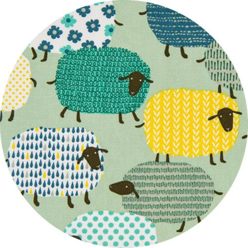 """Japanese Import, OXFORD, Shapely Sheep Mint  Fabric is sold by the 1/2 Yard. For example, if you would like to purchase 1 Yard, enter 2 in the Qty. box at Checkout. Yardage is cut in one continuous piece when possible.  Examples:  1/2 yard = 1 1 yard = 2 1 1/2 yards = 3 2 yards = 4   1/2 Yard Measures ~18"""" x 44/45""""  Fiber Content: 100% Cotton  Hover over image for a larger, better view."""