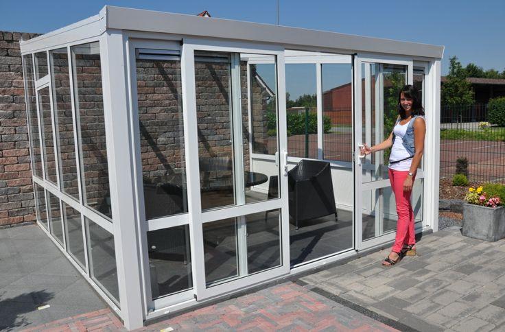 Veranda completa in vetro con porte scorrevoli