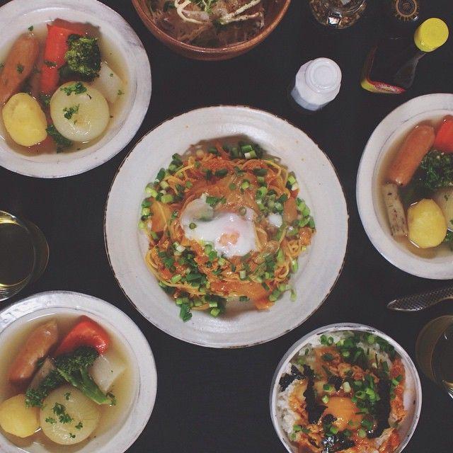 02.02 豚バラキムチパスタ、豚バラキムチ丼(ダンナ用)、大根サラダ、野菜たっぷりポトフ。  #おうちごはん#晩ごはん#SENSdeMASAKI