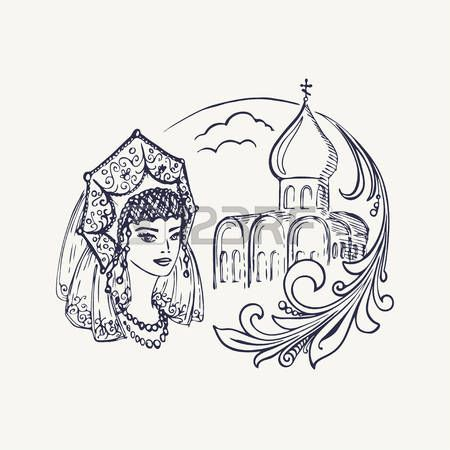 Stylized drawing of the church, girls in kokoshnik and Khokhloma branch. Vector illustration. Eps-8
