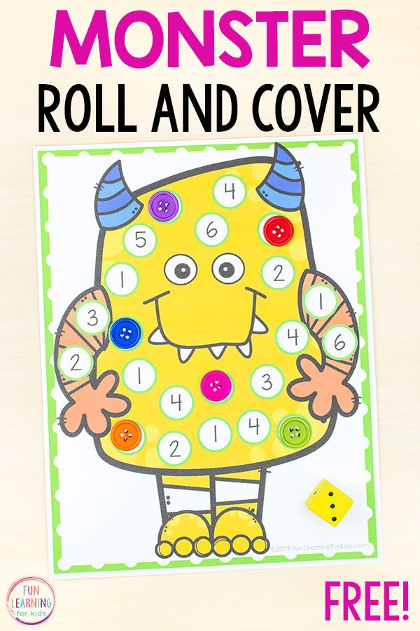 Silly Monster Roll And Cover Math Game Alphabet Activities