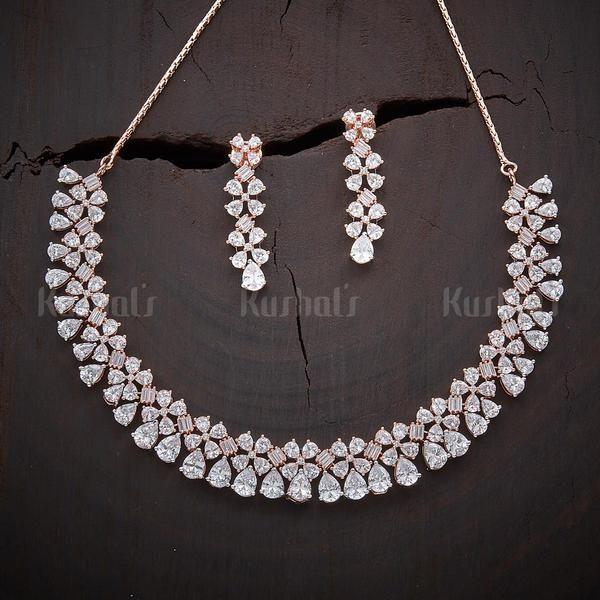 Designer Zircon Necklace Studded With White Stones
