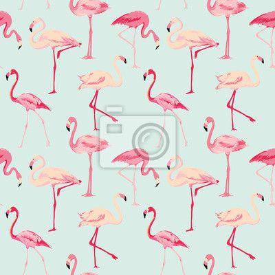 Carta da Parati Uccello Flamingo Background Retro