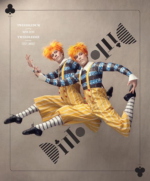 "Nayon Iovino (Tweedledum) & Corey Landolt (Tweedledee) in Washington Ballet's ""Alice."" Photo by Dean Alexander, produced by Design Army."