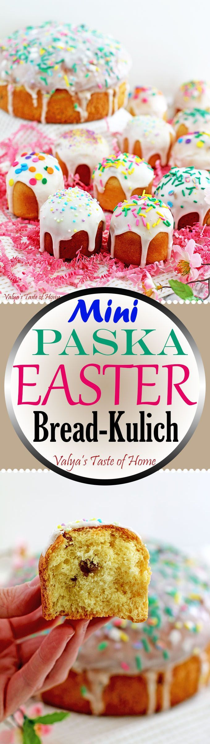 This Mini Paska Easter Bread Recipe makes the bread pillow soft. Small cupcake size Paska Bread is easy to hold and a perfect serving size for little ones and so adorable. They are the cutest little things! Plus, they make a perfect addition to baked-goods gift baskets, if you like giving away those.