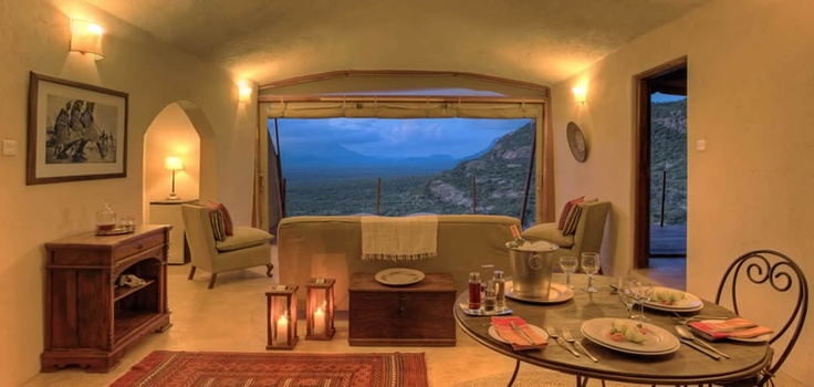 Each villa at Saruni Samburu has their own comfortable sitting and dining areas, where you can indulge in a romantic dinner for two in your private living room.