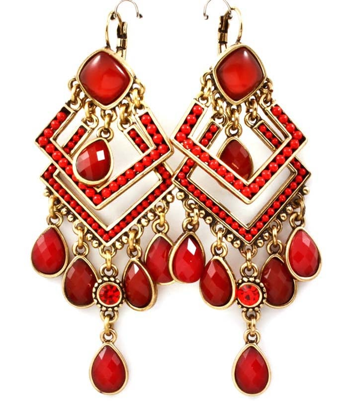 $22.00  Red and Gold Earrings