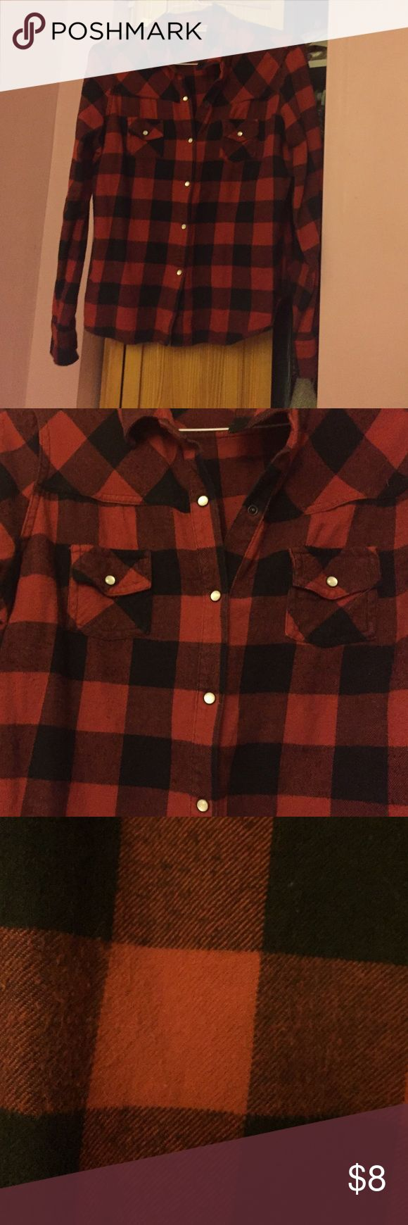 Red Plaid Shirt Red Plaid Shirt with buttons and pockets!            Worn a couple of times but it good condition! Mossimo Supply Co. Tops Button Down Shirts