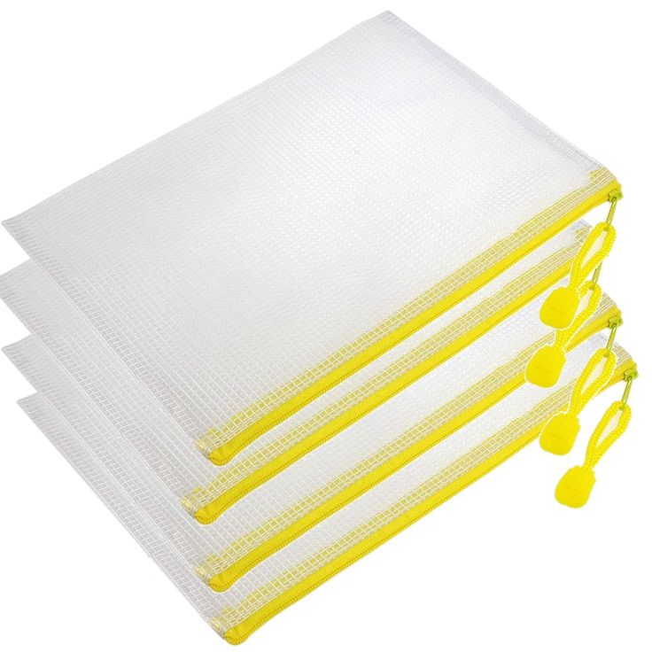 Affordable 4 Pcs Pen File A4 Document Bags Yellow Zip up White Plastic Pockets