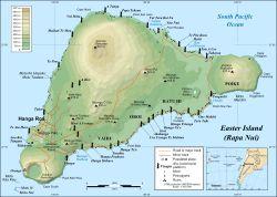 Easter Island map showing Terevaka, Poike, Rano Kau, Motu Nui, Orongo, and Mataveri; major ahus are marked with moai