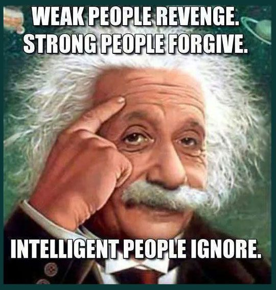 #Intelligent People Ignore  #Strong People Forgive  #Weak People Revenge  Not shown here: Stupid People get caught
