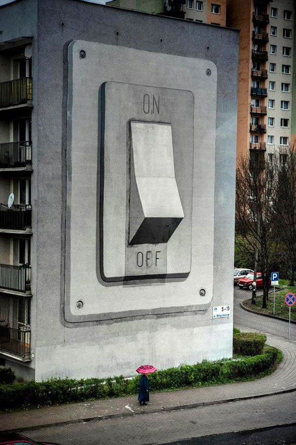 Street Art At Its Best In Poland : Escif's On/Off Switch Mural: