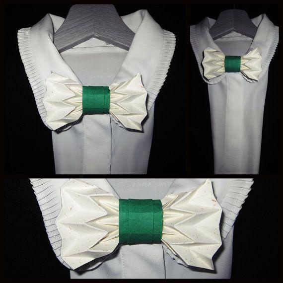 noeud papillon origami vert et écru par Tetedecarton sur Etsy – #écru #Etsy #n…