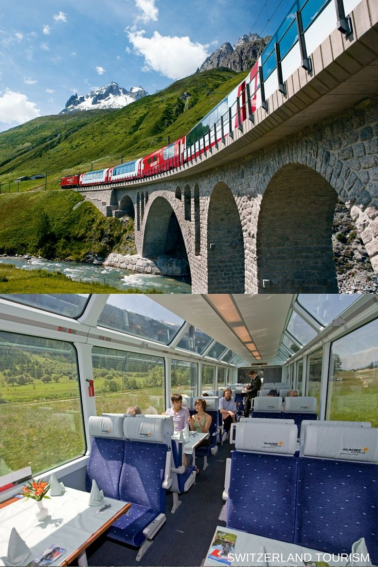 #GlacierExpress: traveling east-west through the Swiss Alps, with major stops in Zermatt, Brig, Andermatt, Chur, Davos and St. Moritz. #inlovewithswitzerland