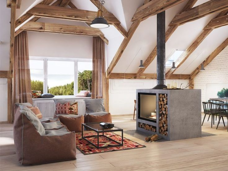 4 stylish homes with slanted ceilings firewood storage