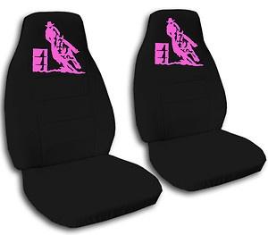 Cool Set Hot Pink Barrel Racing Car Seat Covers Black More Colors Back Seat Avbl   eBay