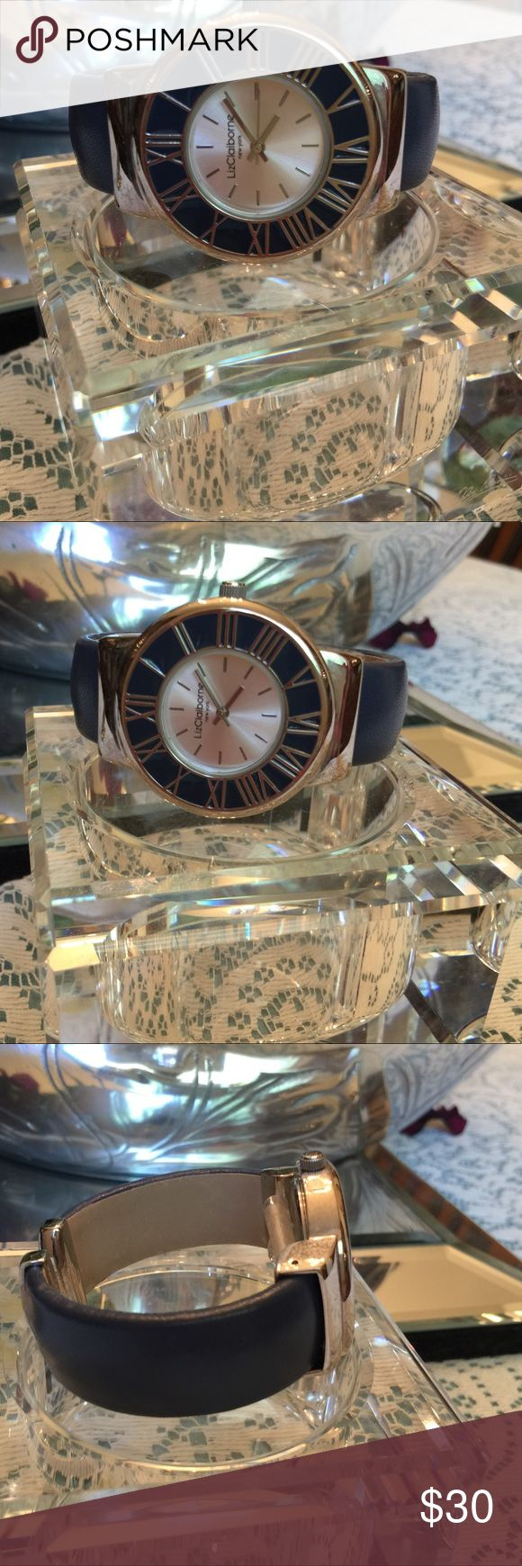 Liz Claiborne Watch This is navy blue leather and silver.  Bangle expands.  Needs new battery.  By Liz Claiborne New York 🎀🎀 Liz Claiborne New York Accessories Watches