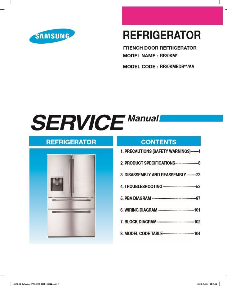 Samsung Rf30kmedbsg Rf30kmedbsr Service Manual And Repair Instructions Refrigerator Service Refrigerator Models Manual