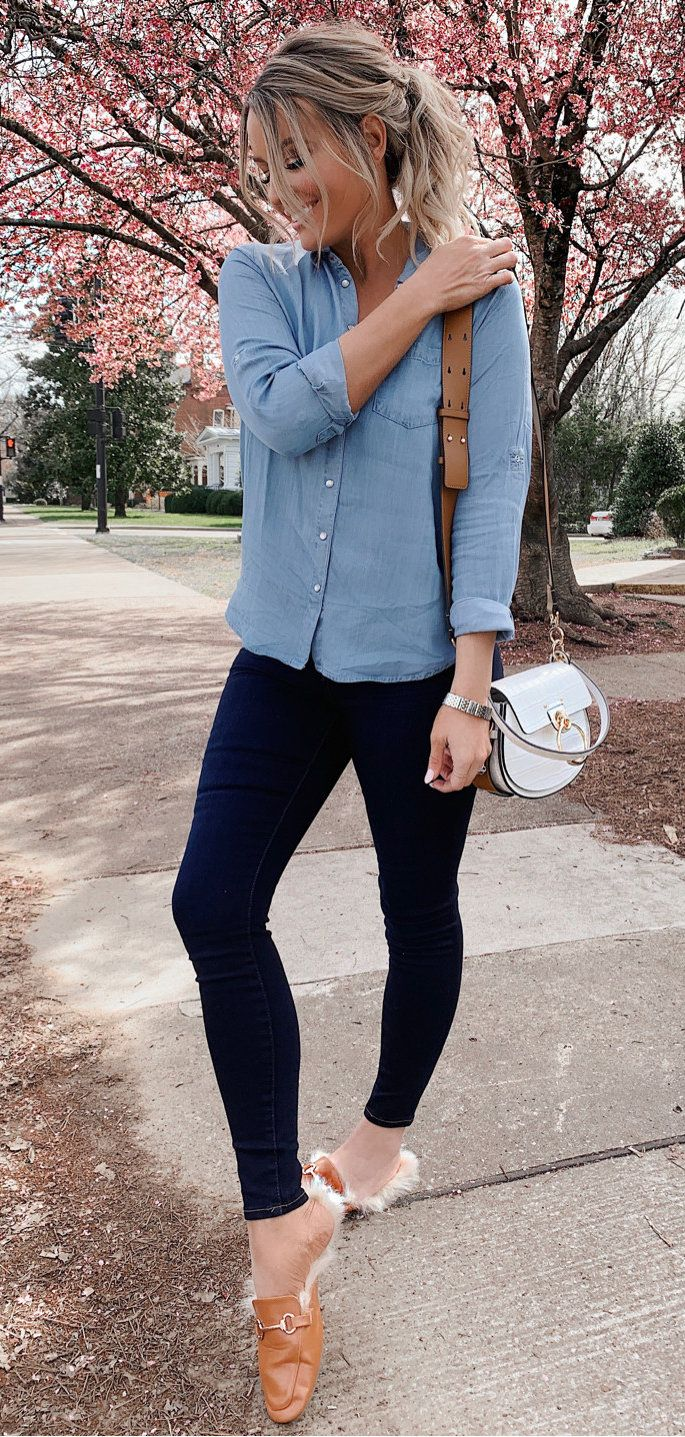 blue long-sleeved blouse #spring #outfits