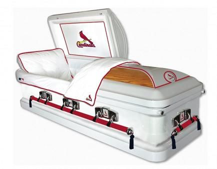 Cardinal Casket. BAHAHA!!!!! My husband would be so proud to be in this dead or alive!
