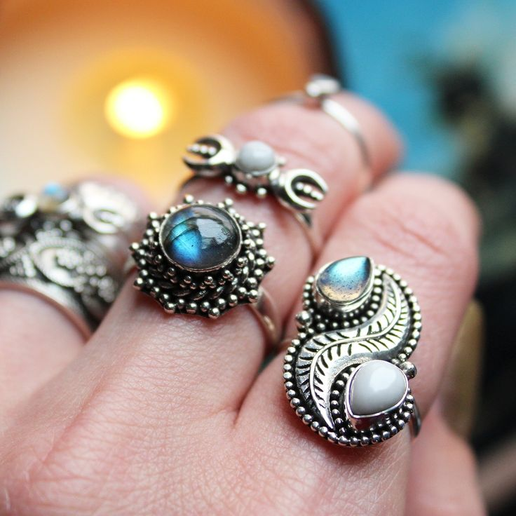 ☽♛☾ NEW IN Meet Labradorite & White Howlite Queens  ☽♛☾ Shop ⇢⇢ www.shopdixi.com // shop dixi // boho // bohemian // gothic // grunge // witchy // witchy // boho jewels // boho chic  // bohemian jewellery // bohemian jewelry // silver rings // sterling silver // gypsy jewels // rings // stacking rings // moon child // dark // mystic
