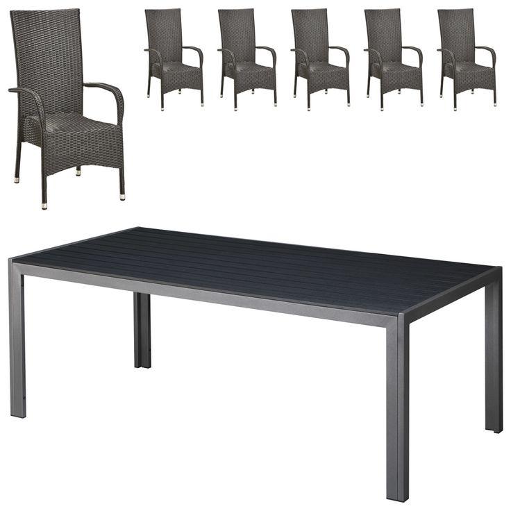 Gartenmöbel Set Las Vegas/Palermo XL (90x150, 6 Stühle, Schwarz) Jetzt  Bestellen Unter: ...