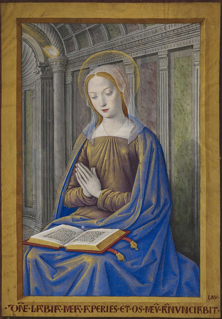 Jean Bourdichon (1457 or 1459 - 1521), Hours of Henry VII, France (Tours), circa 1500 The Virgin Mary receiving the Annunciation. A book with gold clasps lies open on her lap.