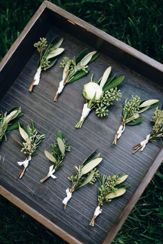 calamigos ranch wedding eucalyptus boutonnieres / http://www.himisspuff.com/greenery-wedding-color-ideas/10/