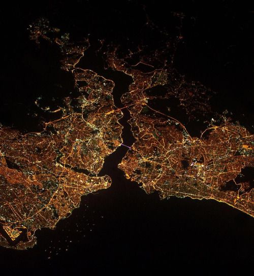 Picture of the day for June 29 2016 at 05:20PM from 'Daily Overview; Our thoughts are with the people of Istanbul today following a gruesome terrorist attack that took place yesterday at the citys main airport. Istanbul is the largest metropolitan area in Turkey with a population of more than 14 million people. This Overview was captured at night from the @iss. (at Istanbul Turkey)