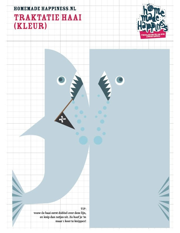 Traktatie haai printbaar knipvel | trakteer eens op een haai | Shark treat kids download free | See more great worksheets at http://www.pinterest.com/RoosGast/ | Roos Gast