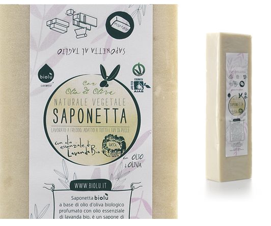 #BIOLU' Saponetta SAPONE BIOLOGICO AL TAGLIO - FILONE 1,1 KG Extra-delicato, idratante e nutriente. Lavorato a freddo.