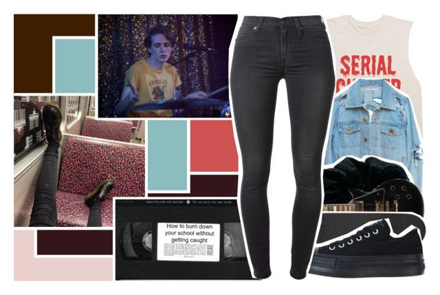 """""""Battery ~ Metallica"""" by baby-g1rl ❤ liked on Polyvore featuring Monki, Converse and 7 For All Mankind"""