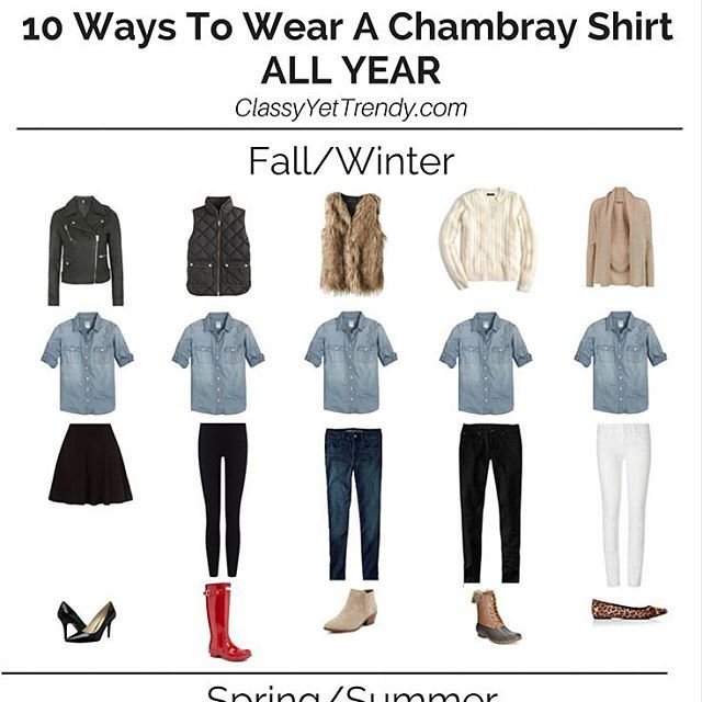 See how to wear a Chambray Shirt 10 ways.
