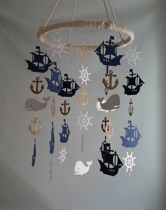 Navy Gold Glitter White Nautical Pirate Ship Whale Helm Anchor Adorable Nautical…