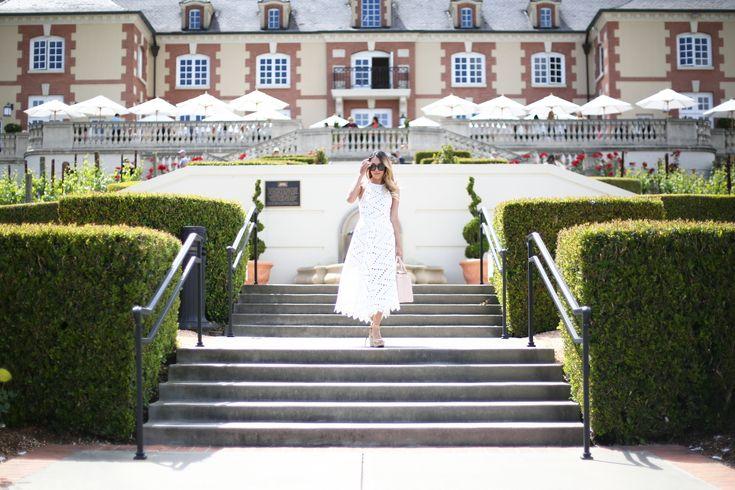 Beyond Basic Blog: What to Wear Wine Tasting - Line Dot Geo Lace Dress Domaine Carneros