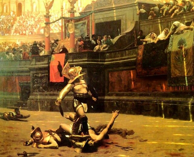 Pollice Verso by Jean-Leon Gerome, 19th century. Ridley Scott was inspired by this painting to direct Gladiator. But Roman authorities actually used a thumbs UP signal to indicate that the loser of the present battle should die.