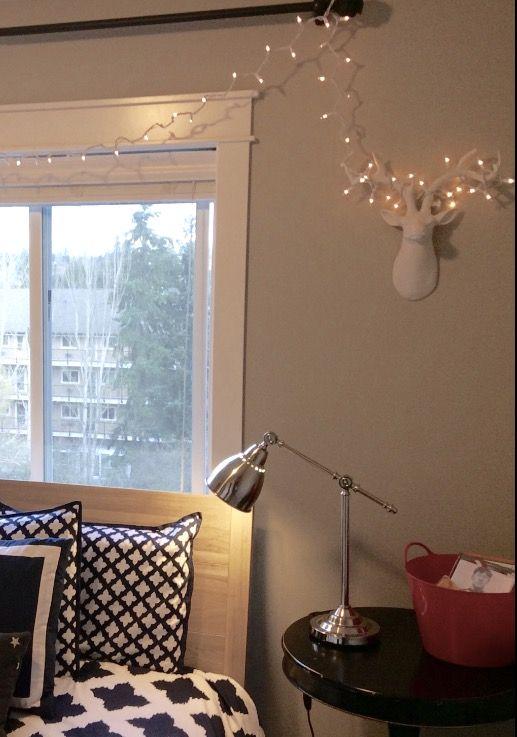 Schwarze Tapeten G?nstig : Christmas deer head, clear lights, red, boy's room, simple Christmas