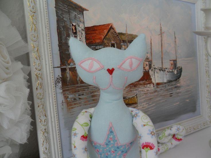 "Katze+Stoffkatze+Kuscheltier+""Nick""+mint+von+MuMus+Zauberwerkstatt+auf+DaWanda.com"